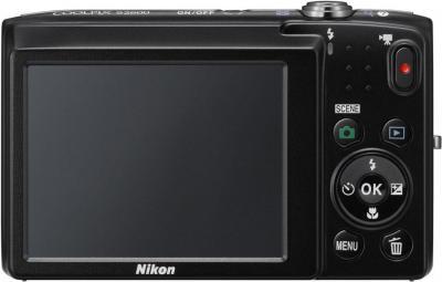 Компактный фотоаппарат Nikon Coolpix S2600 Black with Pattern - вид сзади