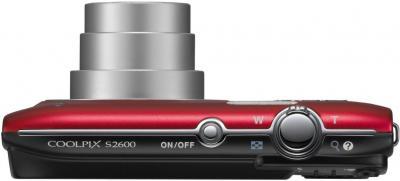 Компактный фотоаппарат Nikon Coolpix S2600 Red - вид сверху