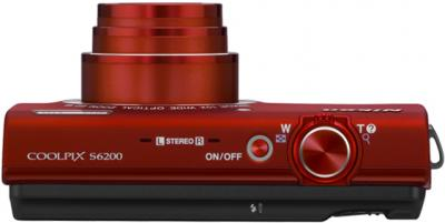 Компактный фотоаппарат Nikon Coolpix S6200 (Red) - вид сверху