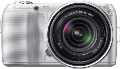 Беззеркальный фотоаппарат Sony NEX-C3K Silver - вид спереди