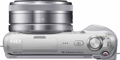 Беззеркальный фотоаппарат Sony NEX-C3K Silver - вид сверху
