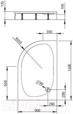Душевой поддон Radaway Patmos E120x90 R / 4P91217-03P