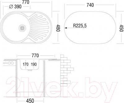Мойка кухонная Ukinox FAP770.480-GT6K 2L - схема