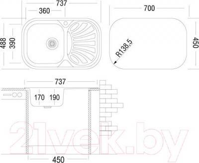 Мойка кухонная Ukinox GAM 737.488 GT 6K (правая) - схема