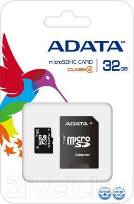 Карта памяти A-data microSDHC (Class 4) 32GB + SD  адаптер (AUSDH32GCL4-RA1) - общий вид
