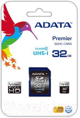 Карта памяти A-data Premier SDHC UHS-I U1 (Class 10) 32 GB (ASDH32GUICL10-R) - общий вид