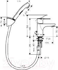 Смеситель Hansgrohe Talis E2 31165000 - технический чертеж