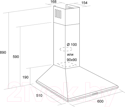 Вытяжка купольная Pyramida Basic Casa 50K (коричневый)