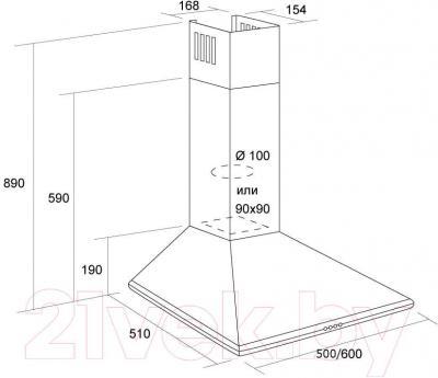 Вытяжка купольная Pyramida Basic Casa 50K (белый) - технический чертеж