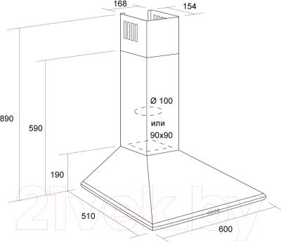Вытяжка купольная Pyramida Basic Casa 60K (коричневый)