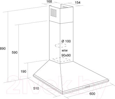 Вытяжка купольная Pyramida Basic Casa 60K (белый)