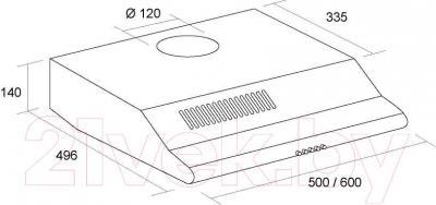 Вытяжка плоская Pyramida Basic Uno 60 (белый) - технический чертеж