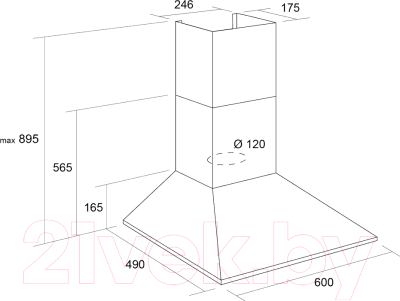 Вытяжка купольная Pyramida KS 60U  (нержавеющая сталь)