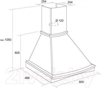 Вытяжка купольная Pyramida R 60U (слоновая кость-вишня) - технический чертеж