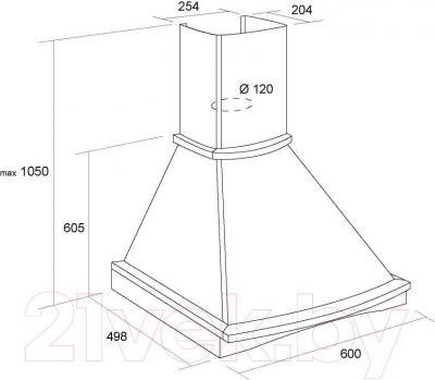 Вытяжка купольная Pyramida R 60U (слоновая кость-орех) - технический чертеж с указанием размеров