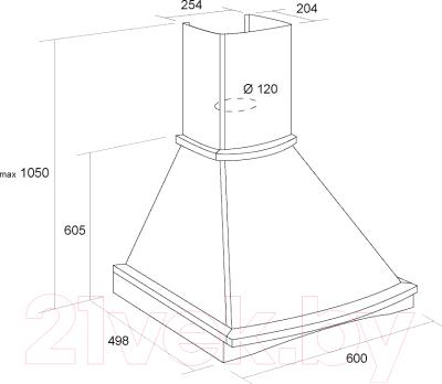 Вытяжка купольная Pyramida R 60U (белый)