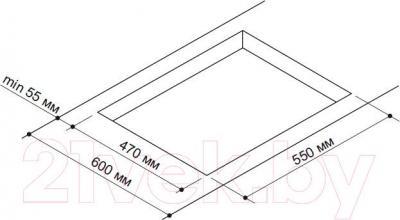 Газовая варочная панель Pyramida PFX 641 Luxe (нержавеющая сталь) - схема