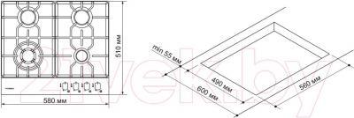 Газовая варочная панель Pyramida PFX 643 Luxe (нержавеющая сталь) - схема