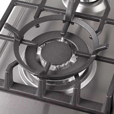 Газовая варочная панель Pyramida PFX 643 Luxe (нержавеющая сталь) - турбоконфорка с подставкой для сковороды вок