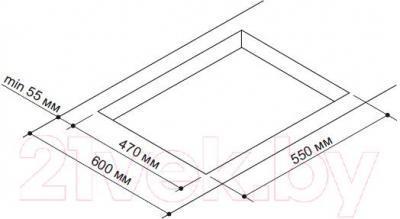 Газовая варочная панель Pyramida PFX 644 (нержавеющая сталь) - схема встраивания