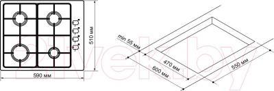 Газовая варочная панель Pyramida PSX 641 (нержавеющая сталь) - схема