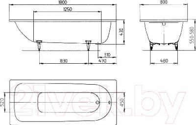 Ванна стальная Kaldewei Saniform Plus 375-1 180x80 (с самоочищающимся покрытием)