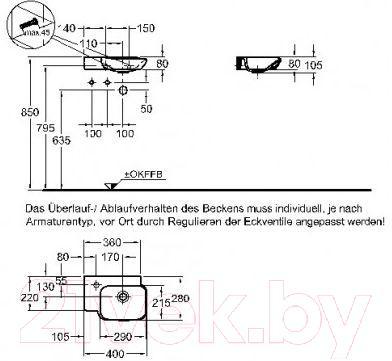 Умывальник настенный Keramag MyDay 40x28 (125440-000)