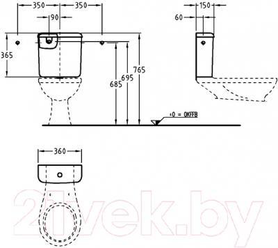 Сливной бачок Keramag Renova (227750-000) - технический чертеж