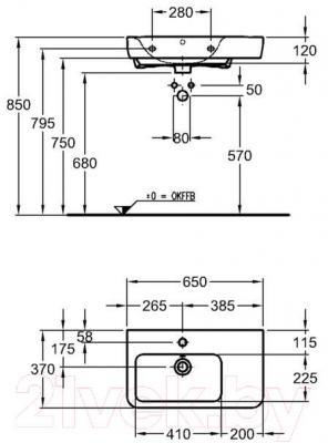 Умывальник настенный Keramag Renova 65x37 (226165-000)