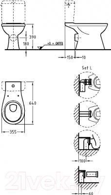 Унитаз напольный Keramag Renova 203800-000 - технический чертеж