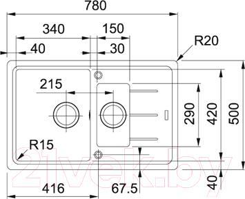 Мойка кухонная Franke BFG 651-78 (114.0280.884) - схема