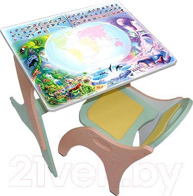 Парта+стул Интехпроект Части-света 14-378 (салатовый и персиковый) - общий вид