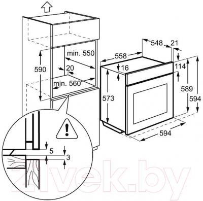 Электрический духовой шкаф Electrolux EOB93434AK - технический чертеж