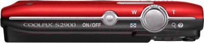 Компактный фотоаппарат Nikon Coolpix S2900 (красный) - вид сверху