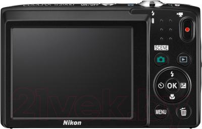 Компактный фотоаппарат Nikon Coolpix S2900 (серебристый) - вид сзади
