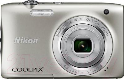 Компактный фотоаппарат Nikon Coolpix S2900 (серебристый) - вид спереди