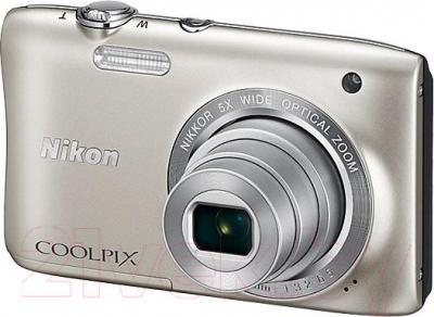 Компактный фотоаппарат Nikon Coolpix S2900 (серебристый) - общий вид