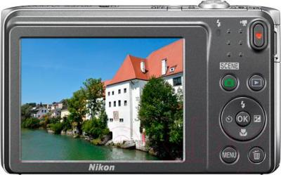 Компактный фотоаппарат Nikon Coolpix S3700 (серебристый) - вид сзади
