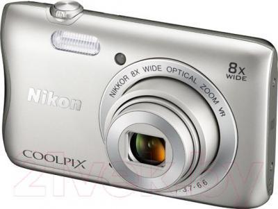 Компактный фотоаппарат Nikon Coolpix S3700 (серебристый) - общий вид
