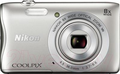 Компактный фотоаппарат Nikon Coolpix S3700 (серебристый) - вид спереди