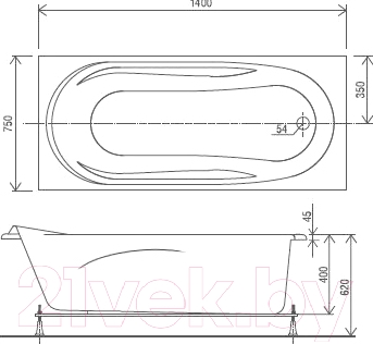 Ванна акриловая Artel Plast Устина 140x75