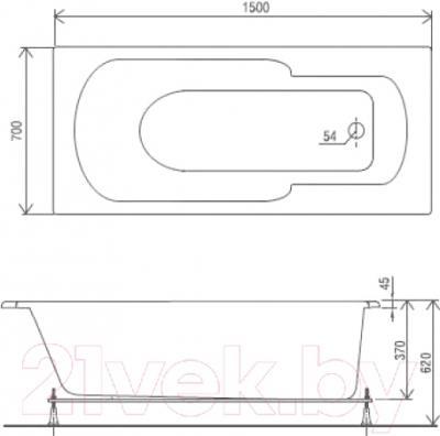 Ванна акриловая Artel Plast Роксана (150х70)