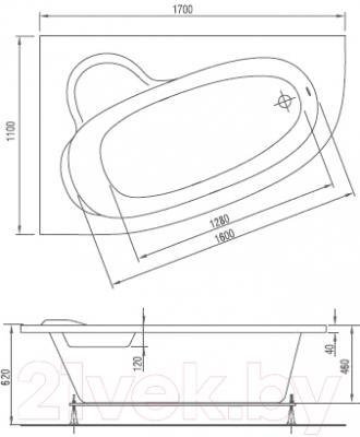Ванна акриловая Artel Plast Стелла R (170х110)