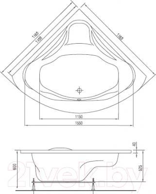 Ванна акриловая Artel Plast Злата 136x136