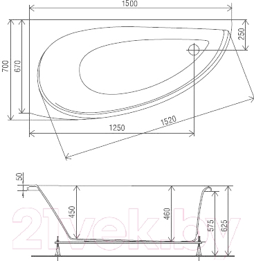Ванна акриловая Artel Plast Ева R (150х70)