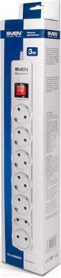 Сетевой фильтр Sven Surge Protector Classic 1.8 (белый, 7 розеток) - упаковка