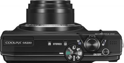 Компактный фотоаппарат Nikon Coolpix S8200 (Black) - вид сверху