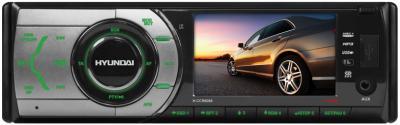Бездисковая автомагнитола Hyundai H-CCR8088 - общий вид, серебристый корпус, зелёная подсветка