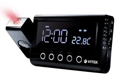 Радиочасы Vitek VT-3528  (Black) - вид спереди