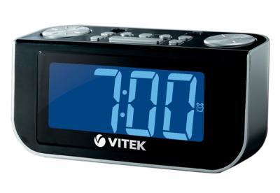 Радиочасы Vitek VT-6600 (черный) - вид спереди